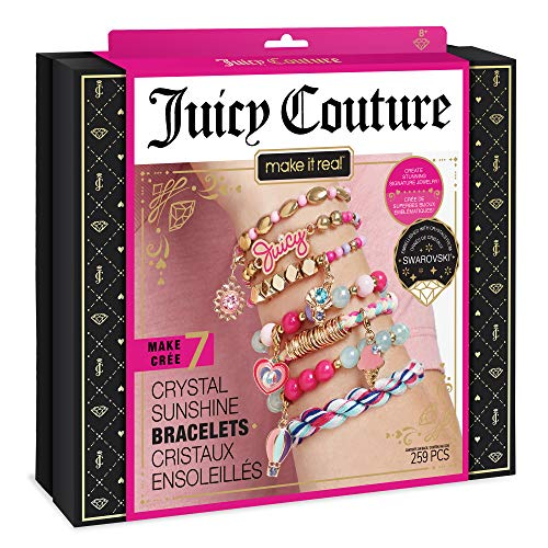 Make It Real  Juicy Couture Crystal Sunshine Bracelets - DIY Charm Bracelet Kit for Teen Girls - Jewelry Making Supplies with Beads and Charms with Swarovski Crystals