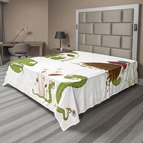 Ambesonne Reptile Flat Sheet, Reptile Family Colorful Baby Snake Frog Ninja Turtles Love Mother Family Theme, Soft and Comfortable Top Sheet Decorative Bedding 1 Piece, Full Size, Green Brown Red