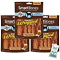 (3 Pack) SmartBones Chicken Wrapped Sticks Dog Chews Peanut Butter 24ct (3 x 8ct) with 10ct Pet Wipes