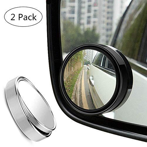 SFASTER Blind Spot Mirror,2 Ronde 360 Graden Verstelbare HD Glas en ABS Behuizing Convex Brede Hoek Achteruitkijkspiegel voor Universele Auto Fit w 3M Stick op Lijm, 2 Pack, Zilver