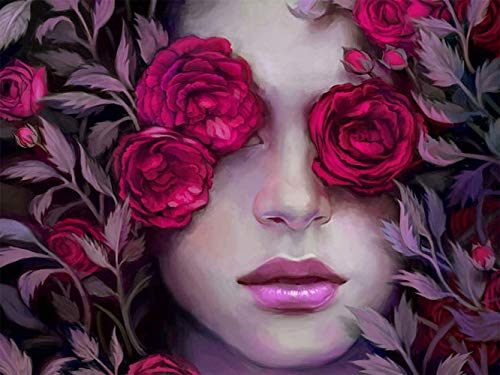 Mosaic Diamond Arts,DIY 5D Diamond Painting Kits Full Round Drill Crystal Rhinestone Embroidery Paintings Great for Home, Office, Wall Decor,Rose Girl20x25cm
