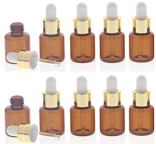 Kosmetex Serum-Flasche mit weißer Silikonpipette, 10 kleine braune 5ml Braunglas-Flasche mit Pipette, 10 Stück