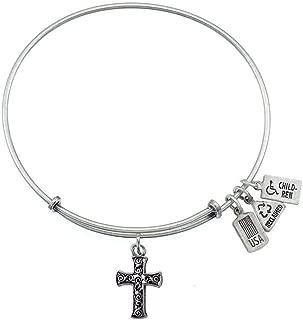 3-D Cross Charm Bangle Bracelet (Antique Silvertone Finish)