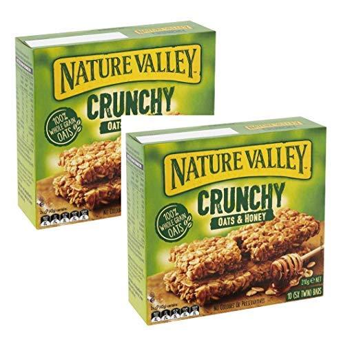 Nature Valley - Barras de cereales crujientes crujientes, 100% copos, avena entera y miel, sin colores ni conservantes, sin lactosa, apto para vegetarianos, 2 x 210 gramos (20 bares)