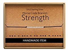 """The Dainty Morse Code Bracelets Is Best Inspation Gifts for Friends Sisters Daugther Mother Grandma Granddaughter Niece. The Morse Code Message """"Strength"""" On A Cord Chain. Morse Code Message Is Made With 2mm Beads. Handcrafted With Love. All Bracelet..."""