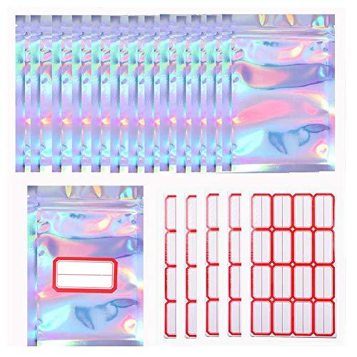 CYH 100 Stücke Wiederverschließbare Geruchssichere Tasche mit 80 Stücke klebeetiketten, Mylarbeutel Folien Tasche Flachbeutel Reißverschluss Tasche für Party Gefallen Aufbewahrung, 2.7x4 Zoll (7x10cm)