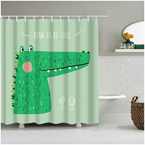 YuLiZG Duschvorhänge,Cartoon Art Design Grün Niedlich Krokodil Dinosaurier Fuchs Stoff Duschvorhang Geeignet Für Familienbad 180 * 200Cm