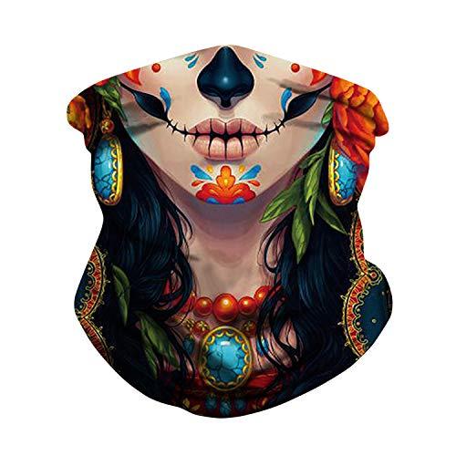 Libertepe Cache-Cou Tubulaire Carnaval Masque Imprimé Crâne Halloween Bandana Multi-Usage Femme/Homme (001)