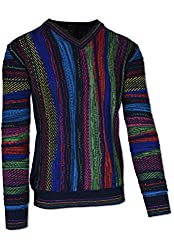 Crew neck Colourful knitting pattern Logo emblem on the hem Ribbed cuffs with contrasting stripes on collar, sleeves and hem Made in Italy using the highest quality yarns