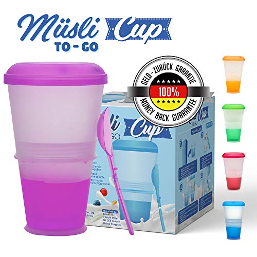 Müsli To Go Becher mit Milch-Kühlfach & Löffel, Müslibecher, Joghurtbehälter, Thermobecher, Müslidose (Lila)