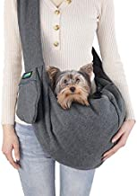 JESPET Comfy Pet Sling for Small Dog Cat, Hand Free Sling Bag Breathable Soft Knit with Front Pocket, Travel Puppy Carrying Bag, Pet Pouch. Machine Washable (Grey)