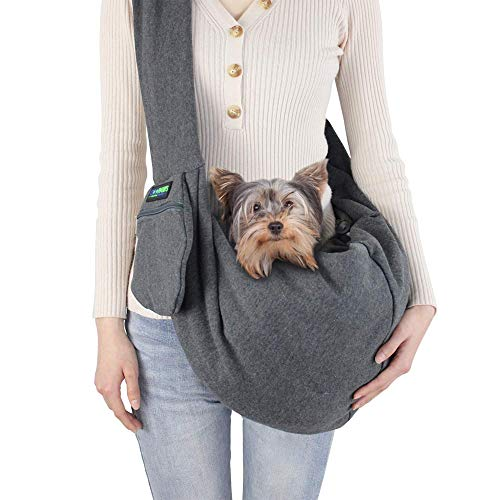 jespet-comfy-pet-sling-for-small-dog-cat-hand-free-sling-bag-breathable-soft-knit-with-front-pocket-travel-puppy-carrying-bag-pet-pouch-machine-washable-grey
