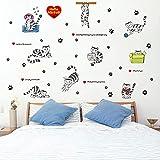 LWJZQT Wandtattoos Schwarz Weiß Gestreiften Katzen Cartoon Wall Sticker Kinderzimmer Wohnzimmer Möbel Schrank Dekor Aufkleber Footprint