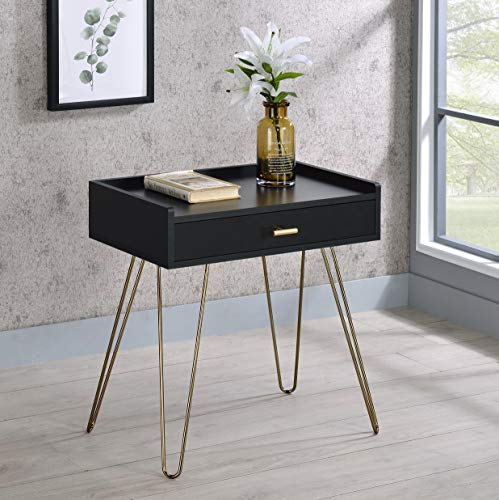 Roundhill Furniture Wood Storage End Table, Black