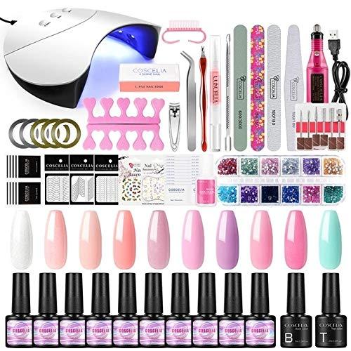 Sets de uñas Conjunto de uñas LED UV lámpara secadora con uñas kit polaco del gel empapa del sistema de manicura de uñas del gel (Color : 7ML SET 01)