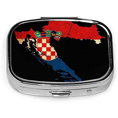 Kroatië Map Outline Vlag CustomSilver Square Pill Box Medicine Tablet Houder Portemonnee Organizer Case