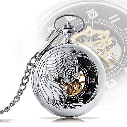 Orologio da Tasca Uomo Mens Vigilanza di tasca meccanica Phoenix quadrante con Chain vuota intagliata Pocket Watch flip Orologio da tasca Collana della vigilanza romana Scala Pocket Watch Orologio da