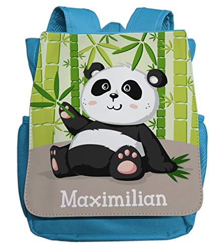 Kindergartenrucksack Jungen & Mädchen | Motiv Panda Bär & Bambus mit Namen | Kleiner Kinderrucksack inkl. Wunschname & Brustgurt | ideal für Kita- und Kindergartenkinder von 2-5 Jahre (hellblau)