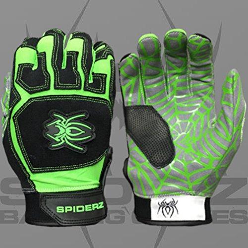 Spiderz Adult Web Batting Glove Silicone Spider Web Palm (Black/Safety Green, Small)