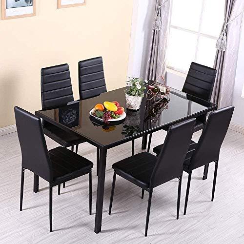 Mesa de Comedor y sillas 4 - Mesa de Cocina de Vidrio Negro y 4 sillas Acolchadas de Cuero de PU con Respaldo Alto para Comedor,Cocina,Oficina,salón (Mesa Negra