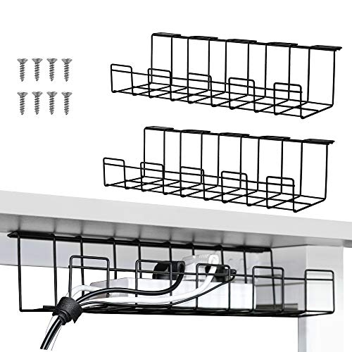 2 Packs Cable Management Tray, 40cm Under Desk Cable Organizer for Wire Management, Metal Wire Cable Tray for Desks, Offices, and Kitchens (Schwarz)