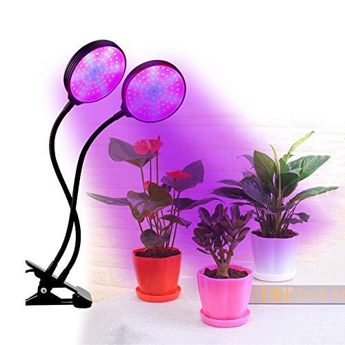 YS&VV Pflanzenlampe LED Für Houseplant Full Spectrum, 30W IP55 Pflanzen Lampe Mit 3 Timer 5 Dimmbar, Dual Head Gooseneck USB-Anschluss Wachstumslampe, Schwarz