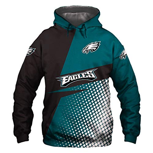 SZRXKJ Herren Kapuze 3D Digitaldruck Lässige Mode Farbe Patchwork Philadelphia Eagles Pullover Hoodies Sweatshirts(L,Blue)