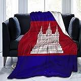 Flanelldecke mit Kambodscha-Flagge, flauschig, bequem, warm, leicht, weich, Überwurf für Sofa, Couch, Schlafzimmer