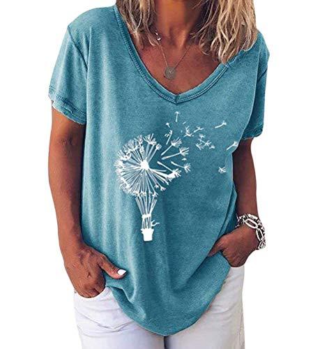 Minetom Pusteblume Bedrucktes T-Shirt Damen Kurzarm Lose Bluse Lässiger V-Ausschnitt Sommer Tops Oberteile E Blau 46