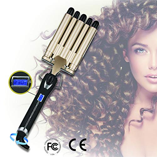 5 Barrel Hair Curler – Curling Iron – Curling Wand for All Hair Types – Hair Waver with Nano Ceramic Coating – Fast Heating Hair Curling Wand for Long or Short Hair – Crimping and Curling Hair Waver