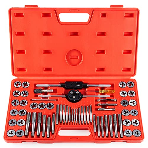 60 PCS Tap and Die Set Metric and Standard Sizes Included Tap Die Kit Metric and SAE for Threading and Rethreading Internal and External Threads