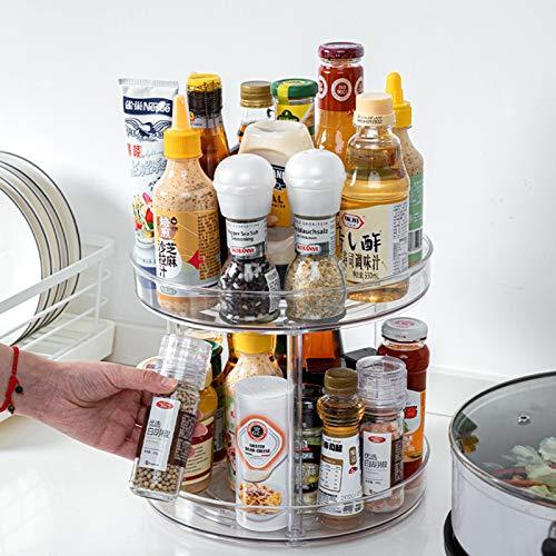 Lawei Tocadiscos Lazy Susan de 2 niveles – Plato giratorio redondo de plástico de 25,4 cm, organizador para especias, condimentos