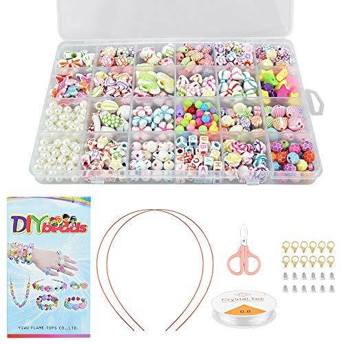 GOLRISEN Perlen zum Auffädeln Kinder Armbänder Selber Machen DIY Perlenschmuck Basteln Bunte Bastelperlen Set mit Elastisches Seil, Stirnbänder, Anhänger, Schere, Hummerverschlüsse