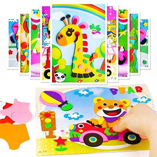 feilai 10/5 piezas 3D de espuma EVA engomada juego de rompecabezas DIY dibujos animados Animales Educación Juguetes para niños Multi-patrones Estilos GYH (color: 5 piezas)