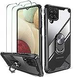 QHOHQ Funda para Samsung Galaxy A12 con 2 Pack Protector de Pantalla,[360° Giratorio Soporte] [5X...