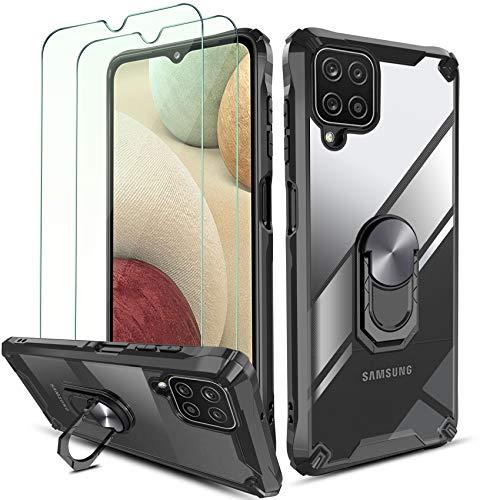 QHOHQ Cover per Samsung Galaxy A12 con 2 Pezzi Pellicola Protettiva,[360° Rotante Staffa] [5X Livello Militare Anti-Caduta Protezione],Cover Posteriore Trasparente per PC,Bordo in TPU Morbido-Nero