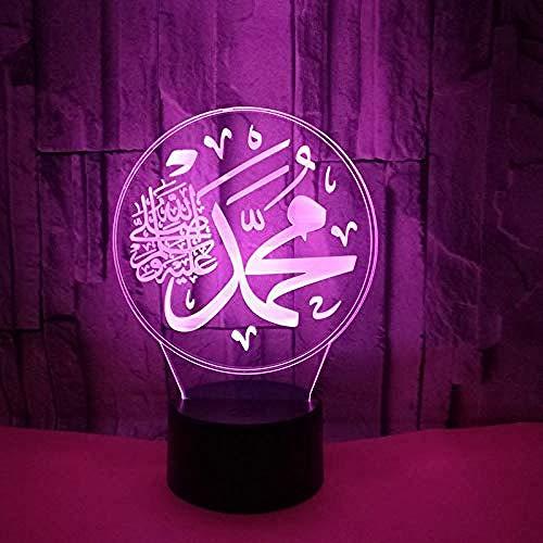 ilusión 3D Luz De Noche Led Accesorios musulmanes para la definición de Alá regalo de cumpleaños para jóvenes, niñas Con interfaz USB, cambio de color colorido