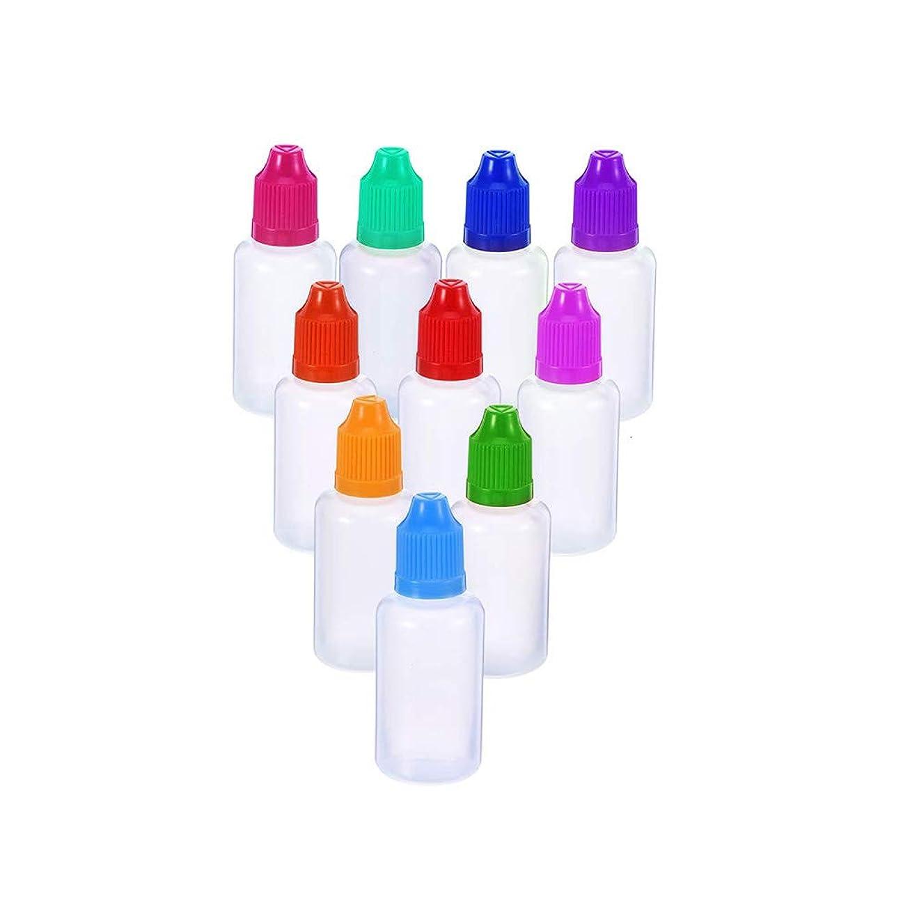目の前の旋回陰謀PEグルーボトル ドロッパーボトル 点眼 液体 貯蔵用 滴瓶 プラスチック製 10個 (10ml) 半透明 /5色 (色はランダム)