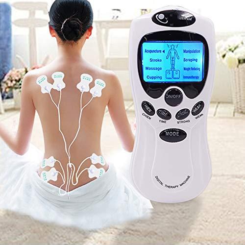 YUOCEAN Electroestimulador Digital Masaje EMS TENS Portatil, 8 Modos Estimulador Muscular Recargable Masajeador Electro para Alivio del Dolor de Cervical/Piernas/Abdominal/Espalda/Cuello