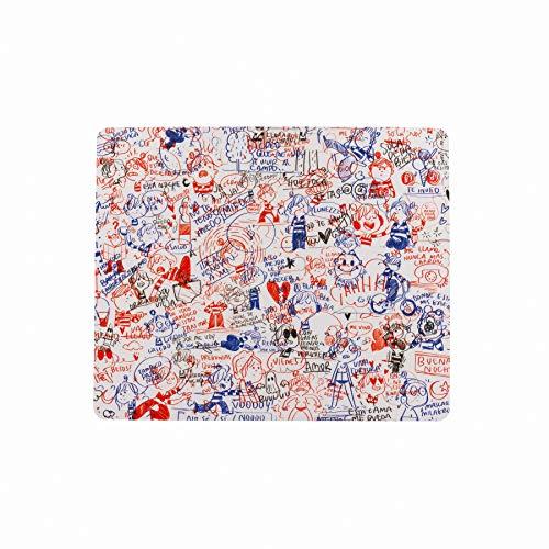 La Volátil Alfombrilla para Ratón Rectangular con Diseño de Garabatos de Bolígrafo en Azul, Rojo y Negro sobre fondo Blanco
