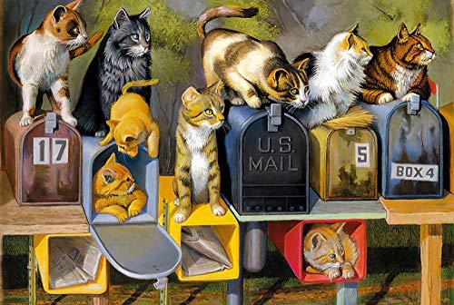 Puzzels 1000 stukjes voor volwassenen Dierlijke kat en brievenbus houten puzzel Puzzel met familiethema Puzzelset voor kinderen Educatieve spelletjes voor kinderen SDHJMT