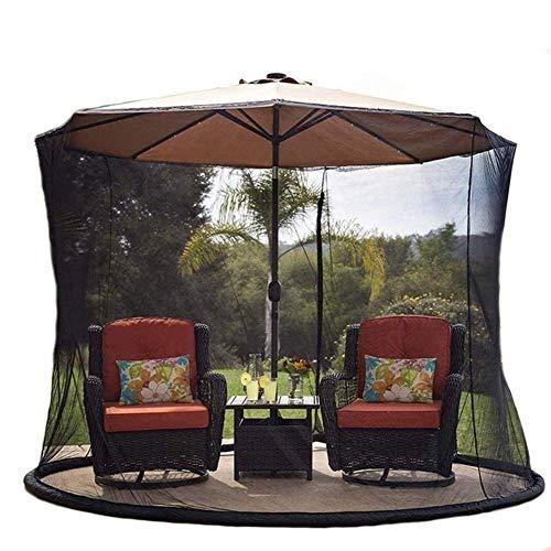 Mosquitera para sombrilla de patio, pantalla de cubierta de red de sombrilla, malla de poliéster, con abertura de cremallera y tubo de agua en la base para sostener en su lugar mosquitera para sombri