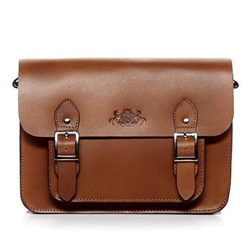 SID & VAIN® borsa a tracolla classica vera pelle TESSA borsa a spalla ipad Borsa per università con manico a spalla donna cuoio marrone