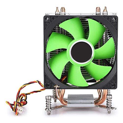 Yuyanshop Disipador térmico de CPU, ventilador de refrigeración de CPU de 3 hilos, doble ventilador sin luz, doble tubo de cobre para AMD / AMD3 / AM4 / FM1 / FM2 (verde)