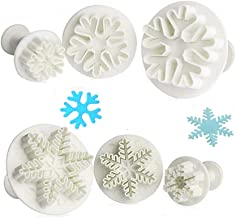 Shenlu Copo de nieve Cookie Cutter Christmas Fondant Cake Decorating émbolo Sugarcraft Cutter molde herramientas, juego de 6, blanco