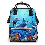 Mochila multiusos para acuario, diseño de peces delfín y algas marinas, de gran capacidad, color azul