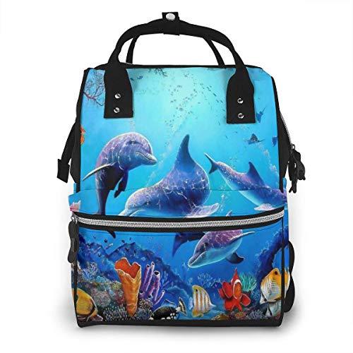 Aquarium Dolfijn Vissen en Zeewier Blauwe Zee Grote Capaciteit Multifunctionele Mummy Rugzak Grote Capaciteit Landscap Licht Baby Luiertassen