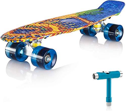 """Newdora Skateboard 22\"""" kompletter Mini Cruiser Komplettboard mit Buntem LED-Lichtrad für Kinder, Jungs, Mädchen(Sun,22)"""