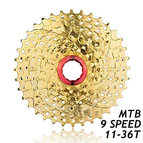 BIKERISK Rueda Libre Piñón de 9 velocidades Oro 9T-36T Gran relación Bicicleta de montaña Bicicleta Cassette Piñón