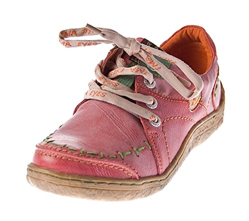 TMA Damen Leder Halb Schuhe Comfort Sneakers Rot Used Look Eyes 1646 Schnürer Turnschuhe Gr. 36